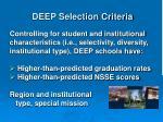 deep selection criteria