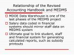relationship of the revised accounting handbook and medms