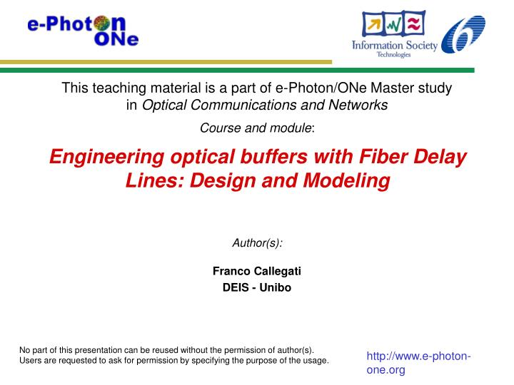 engineering optical buffers with fiber delay lines design and modeling n.