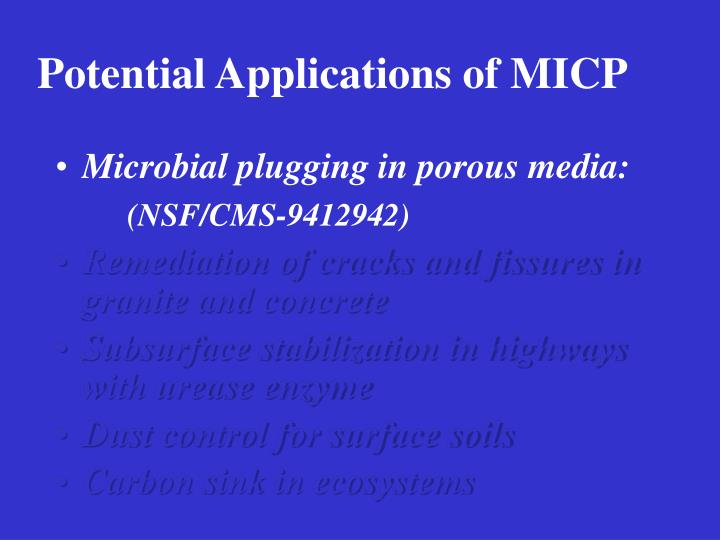 Potential Applications of MICP