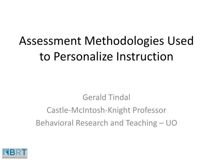 assessment methodologies used to personalize instruction n.