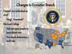 changes to executive branch