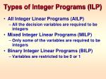 types of integer programs ilp