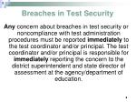 breaches in test security