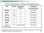 test session time guidelines