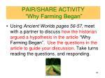 pair share activity why farming began