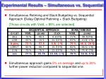 experimental results simultaneous vs sequential