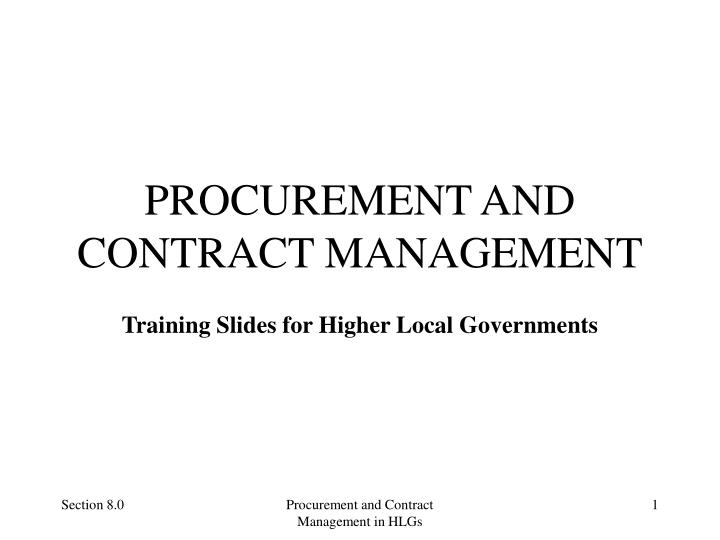 procurement and contract management n.