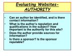 evaluating websites authority