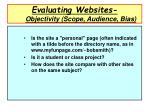 evaluating websites objectivity scope audience bias1