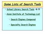 some lists of search tools