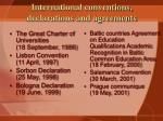 international conventions declarations and agreements
