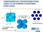 homogeneous transformations used to determine screening functions