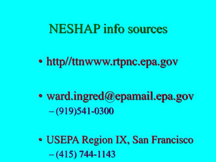 neshap info sources n.