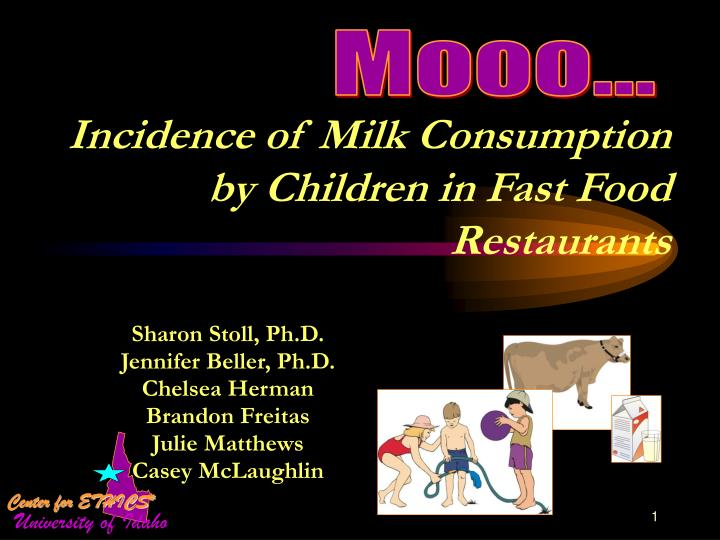 incidence of milk consumption by children in fast food restaurants n.