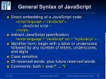 general syntax of javascript