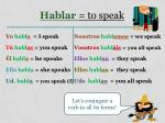 hablar to speak