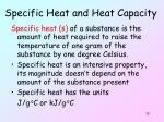 specific heat and heat capacity