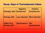 recap signs of thermodynamic values