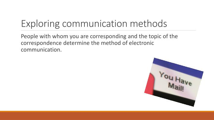 electronic and non-electronic methods of communication essay Electronic media: communication is a process of transferring information from one entity to another over time, technology has progressed and has created new forms of and ideas about communication.