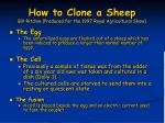 how to clone a sheep bill ritchie produced for the 1997 royal agricultural show