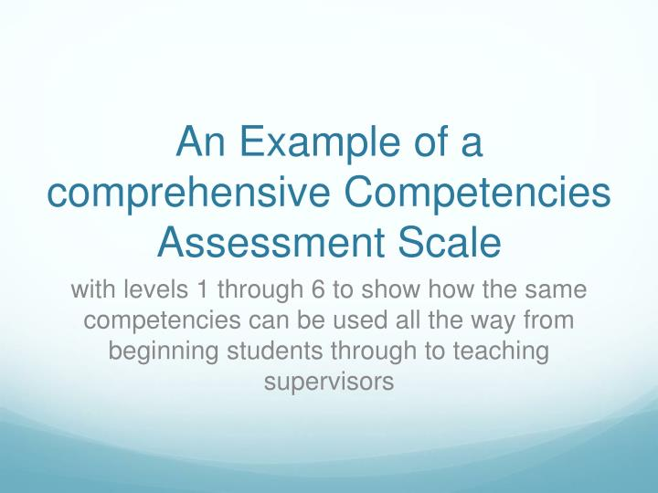 An Example of a comprehensive Competencies Assessment Scale