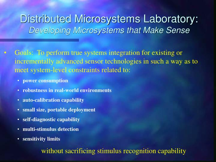 distributed microsystems laboratory developing microsystems that make sense n.
