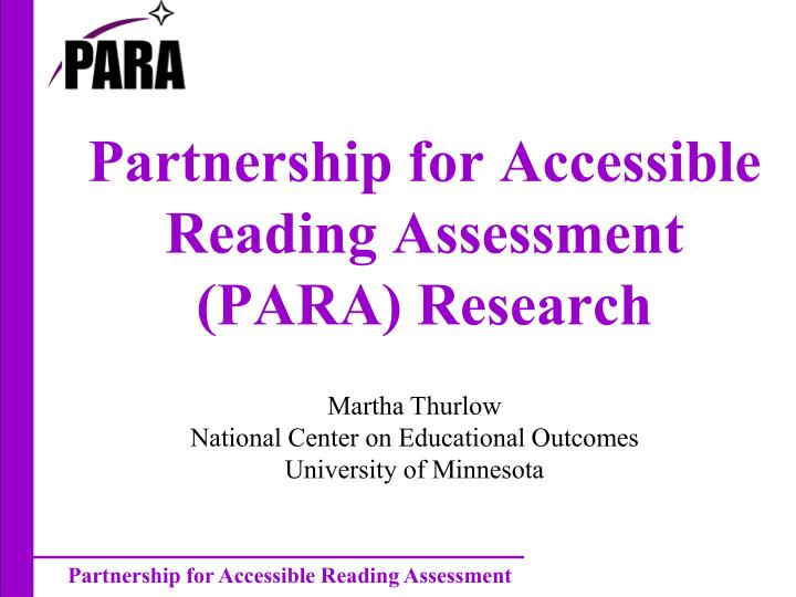 partnership for accessible reading assessment para research n.