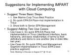 suggestions for implementing impart with cloud computing