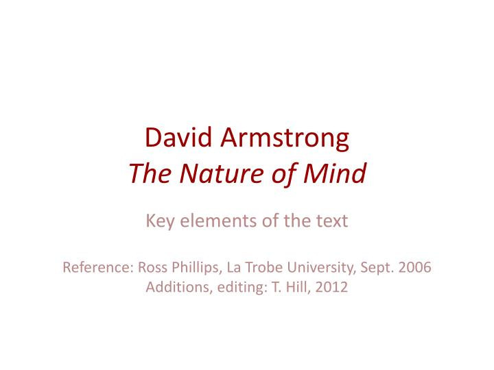 david armstrong the nature of mind n.