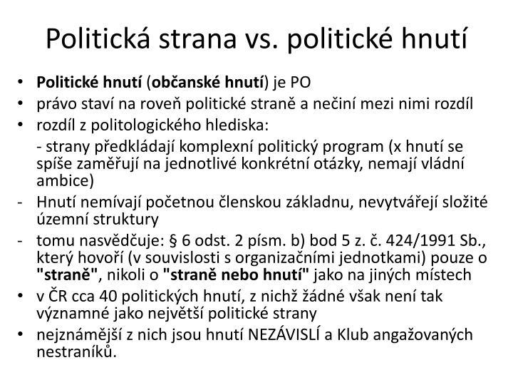 Politická strana vs.