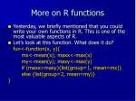 more on r functions
