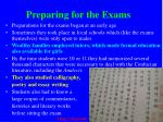 preparing for the exams