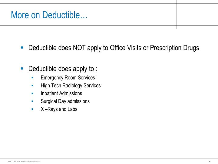More on Deductible…