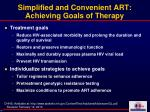 simplified and convenient art achieving goals of therapy