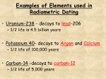 examples of elements used in radiometric dating