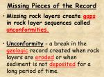 missing pieces of the record