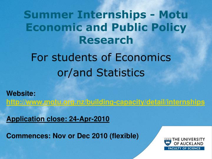 summer internships motu economic and public policy research n.