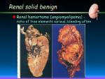 renal solid benign