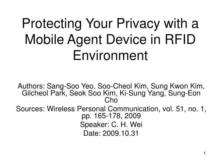 protecting your privacy with a mobile agent device in rfid environment n.