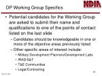 dp working group specifics1