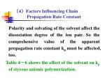 4 factors influencing chain propagation rate constant