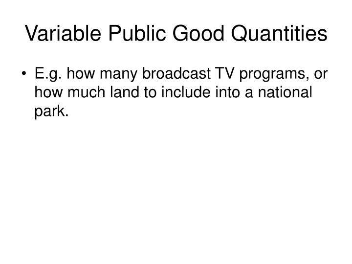 variable public good quantities n.