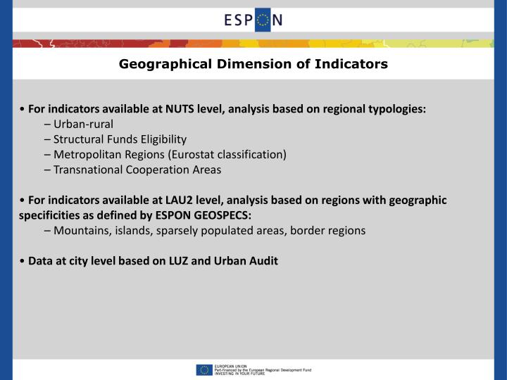 Geographical Dimension of Indicators