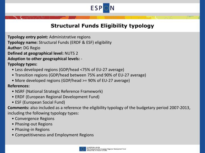Structural Funds Eligibility typology