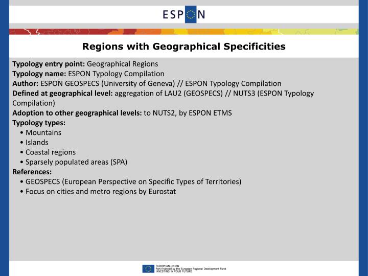 Regions with Geographical Specificities