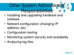 other system administrator responsibilities