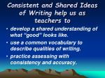 consistent and shared ideas of writing help us as teachers to