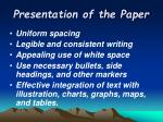 presentation of the paper