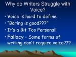 why do writers struggle with voice